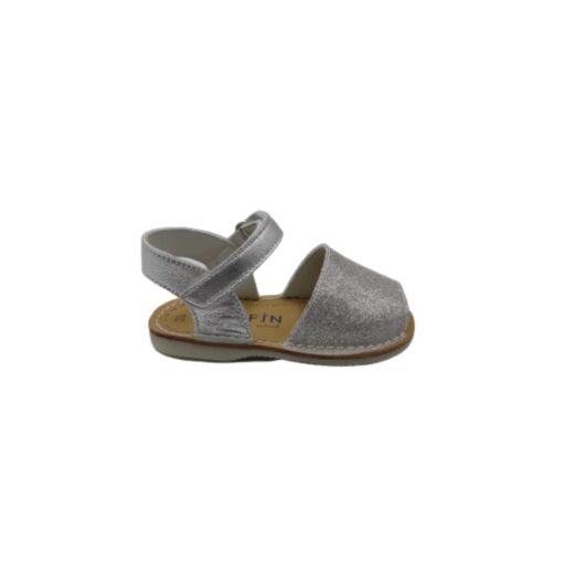 sandalia menorquina charol glitter plata Pirufin