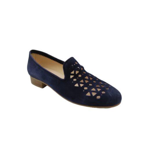 zapato copete calado serraje azul Ragazza
