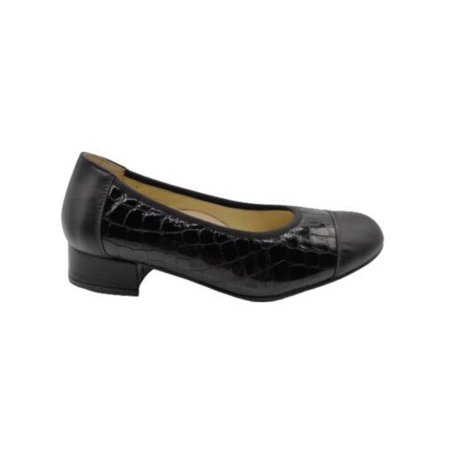 zapato salón tacón bajo charol negro Roldán