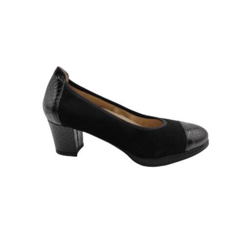 zapato salón serraje negro Roldán